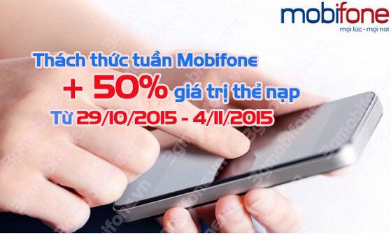 Khuyến mãi nạp thẻ 50% Mobifone từ 29/10 – 4/11/2015