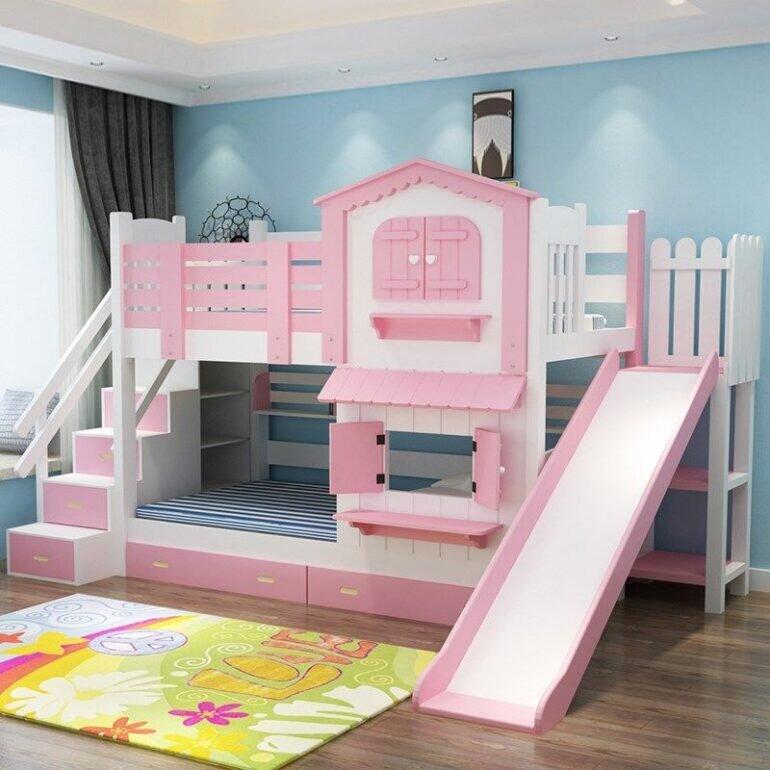 Giường tầng hình ngôi nhà năng động và dễ thương cho bé