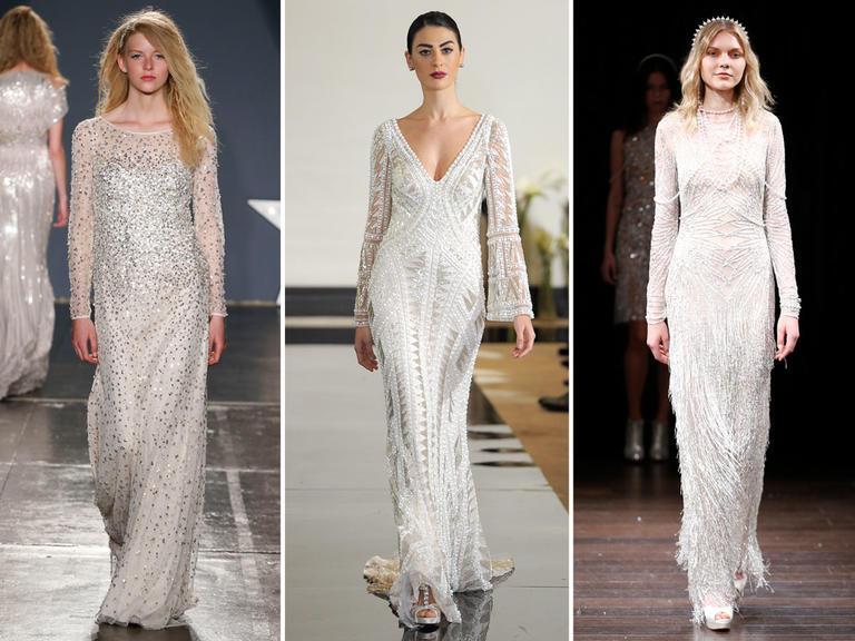 Những chiếc váy cưới đính hạt luôn tạo ra sự độc đáo