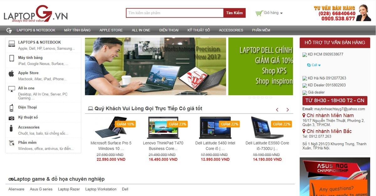 LAPTOPG7 – Địa chỉ bán lẻ máy tính, laptop, điện thoại, máy tính bảng, linh kiện, thiết bị điện tử hàng đầu Việt Nam