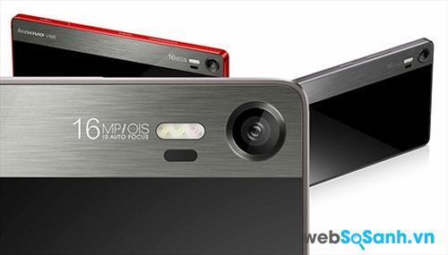 Điện thoại Lenovo Vibe Shot sở hữu camera chính 16 Mp cảm biến BSI, và đèn flash 3 bóng