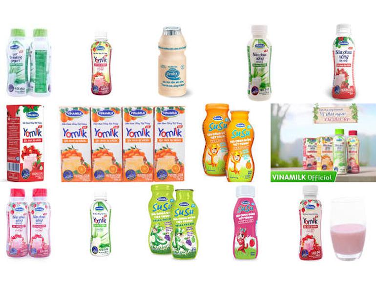 Các nhãn hiệu sữa chua uống Probi, Yomilk, sữa chua uống tiệt trùng lên men tự nhiên, Susu, Ozela, ... của Vinamilk