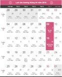 Lịch nghỉ lễ Giỗ tổ Hùng Vương và 30/4-1/5 năm 2016