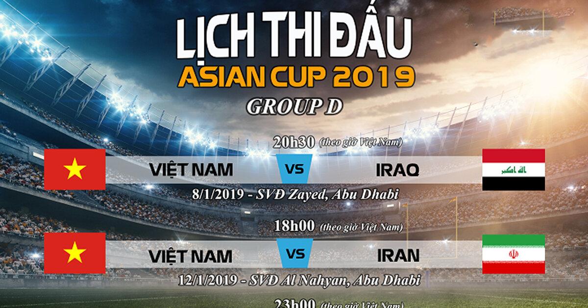 Lịch thi đấu Asian cup 2019 – Việt Nam đá ngày mấy với đội nào ?
