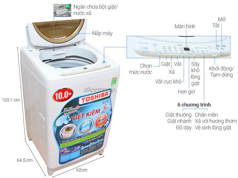 Máy giặt Toshiba AW-B1100GV(WM) kháng khuẩn với tính năng làm khô lồng giặt