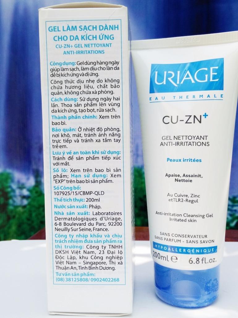Sữa rửa mặt Uriage Cu-Zn+ Gel Nettoyant Anti-Irritations