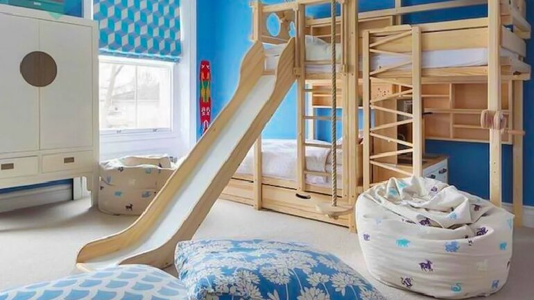 Giường tầng trẻ em có cầu trượt cho bé thích mê