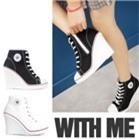 Giày sneaker nữ gót cao cá tính