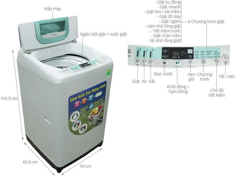 Máy giặt 8kg Hitachi có loại nào tốt ? Giá bao nhiêu tiền ?