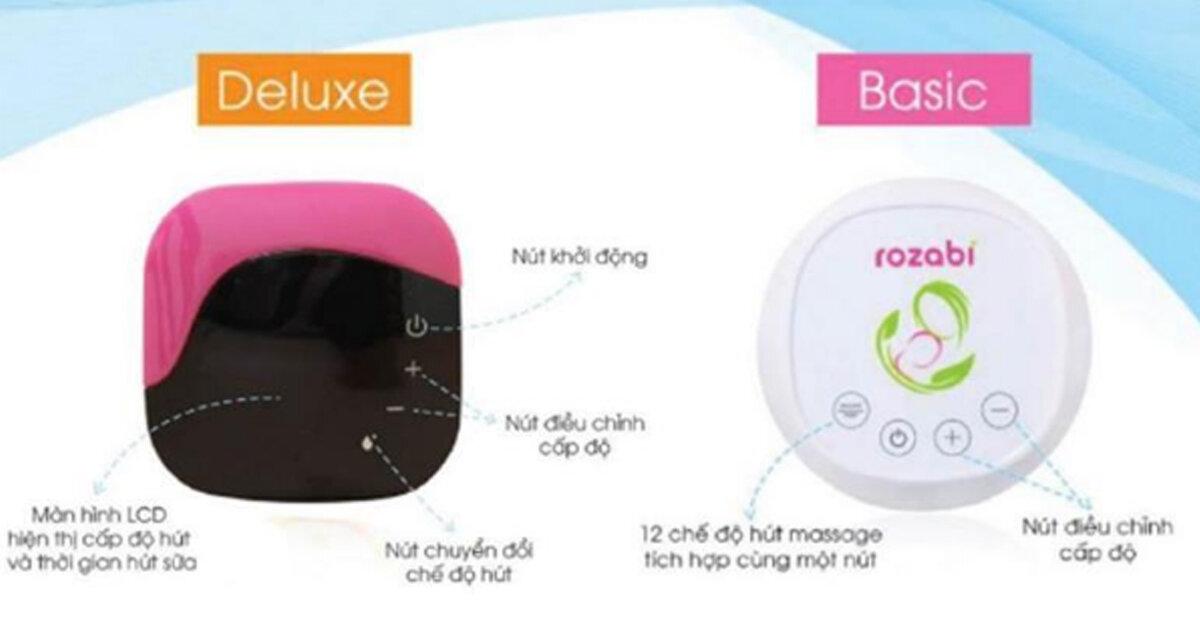 Máy hút sữa Rozabi Deluxe có gì vượt trội hơn máy hút sữa Rozabi Basic mà giá thành lại đắt gấp đôi ?