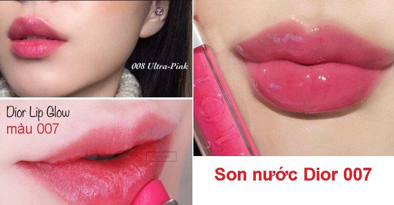 Màu sắc lên môi thực tế của 2 màu son dưỡng Dior 007 và 008