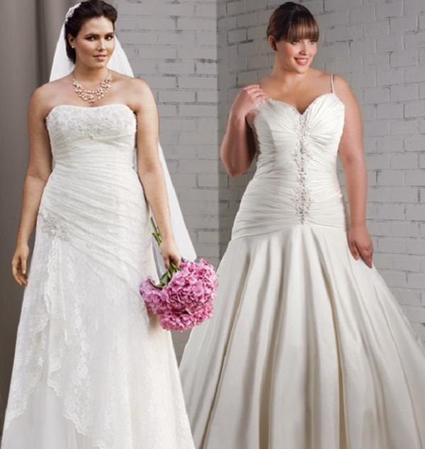 Những thiết kế váy cưới cúp ngực hoặc xẻ sâu rất phù hợp với các cô dâu có dáng người tròn trịa