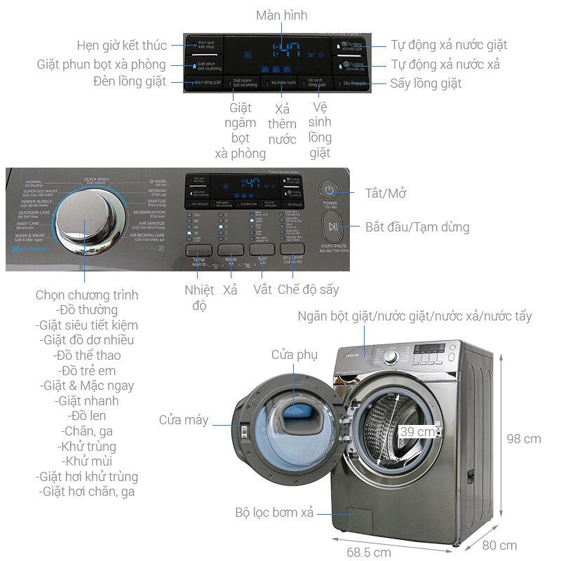 Máy giặt Samsung Add Wash Inverter 17 kg WD17J7825KP/SV tiết kiệm điện và đánh bay vết bẩn