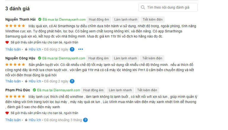 review của người dùng về điều hòa samsung wind free