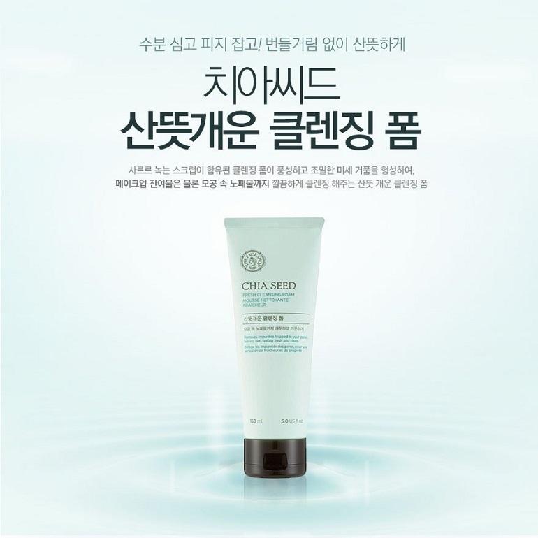Sữa rửa mặt The Face Shop Chia Seed Fresh Foaming Liquid Cleanser