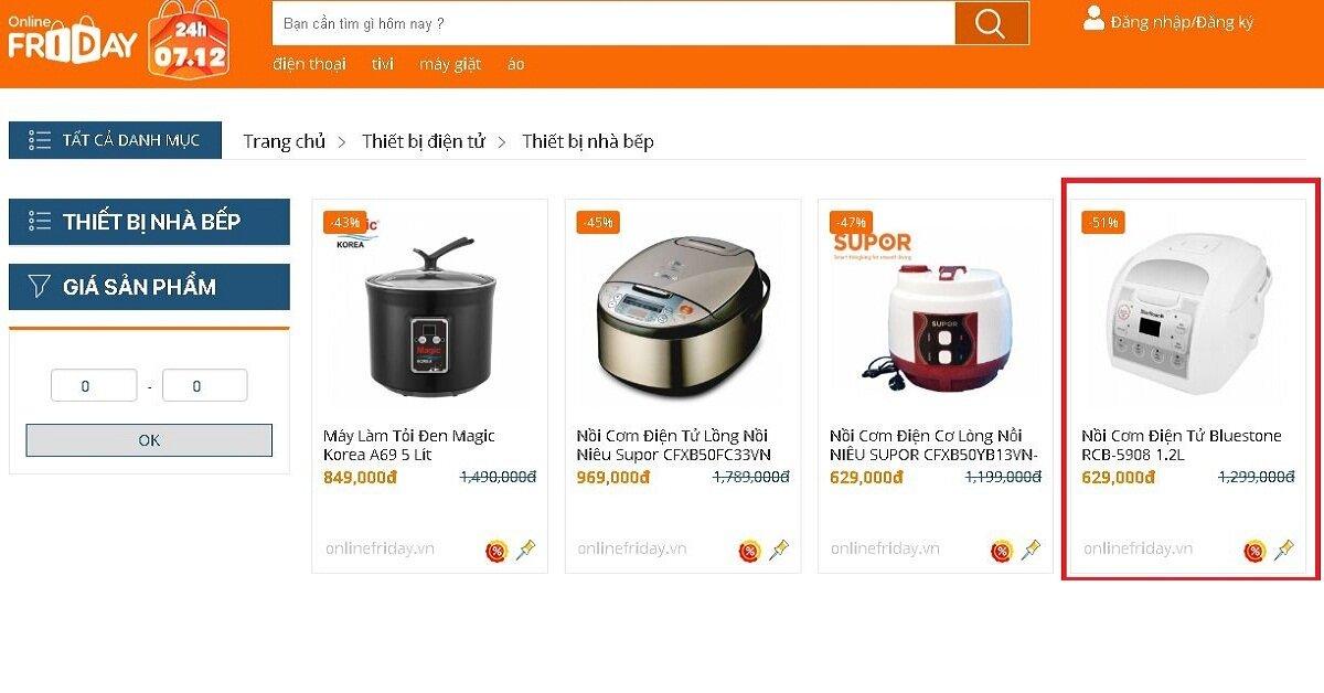 Mua nồi cơm điện tử chính hãng tại Online Friday rẻ hơn nhiều so với giá đã giảm của Tiki, Sendo, Lotte, Lazada