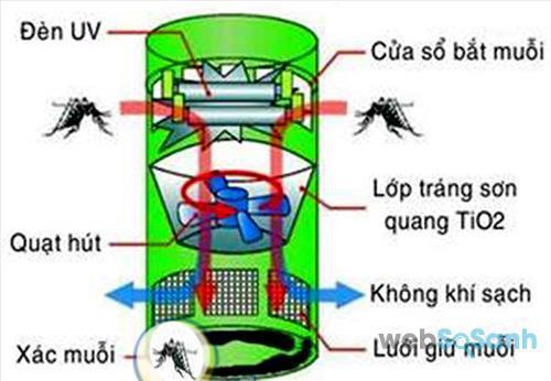 Cấu tạo và nguyên tắc hoạt động của đèn bắt muỗi quạt hút