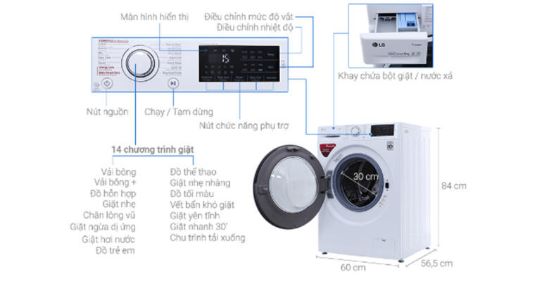 Máy giặt cửa ngang LG FC1408S4W2