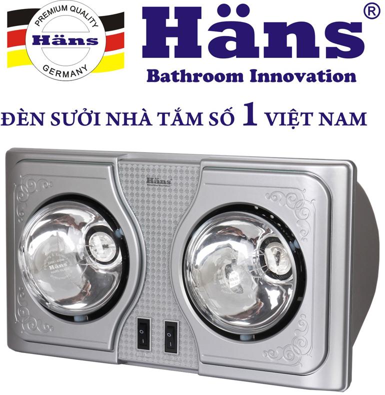 Đèn sưởi nhà tắm Hans thương hiệu khá nổi tiếng và uy tín