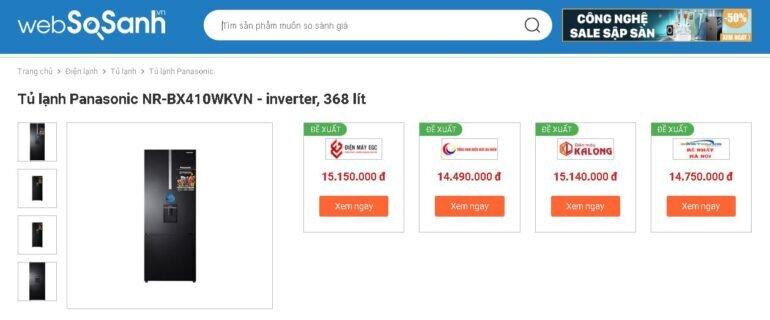 Tủ lạnh ngăn đông mềm Panasonic Inverter 368 lít NR-BX410WKVN - Giá tham khảo khoảng 15 triệu vnđ/ chiếc