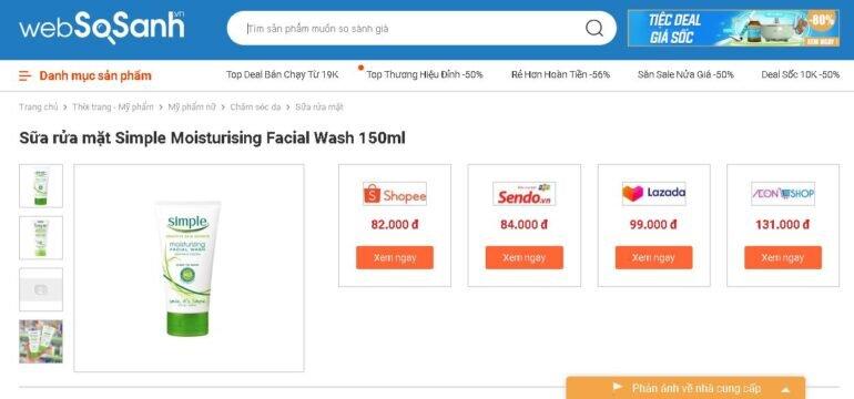 Giá sữa rửa mặt Simple Moisturising Facial Wash bao nhiêu tiền?