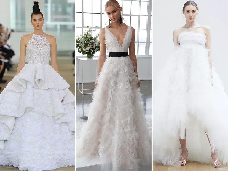 Những chiếc váy cưới đính lông vũ bao giờ cũng trông thật mềm mại và ấn tượng