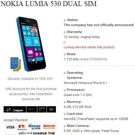 Nokia Lumia 530 hai sim được tiết lộ bởi nhà bán lẻ Việt Nam
