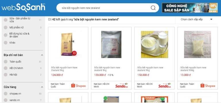 Giá sữa bột nguyên kem New Zealand bao nhiêu tiền?