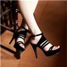 Sandal cao gót thời trang màu đen-C002