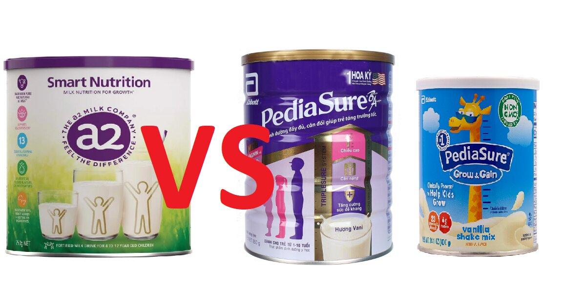 So sánh sữa a2 Smart Nutrition và Pediasure - sữa nào giúp trẻ tăng cân, tăng chiều cao tốt hơn?