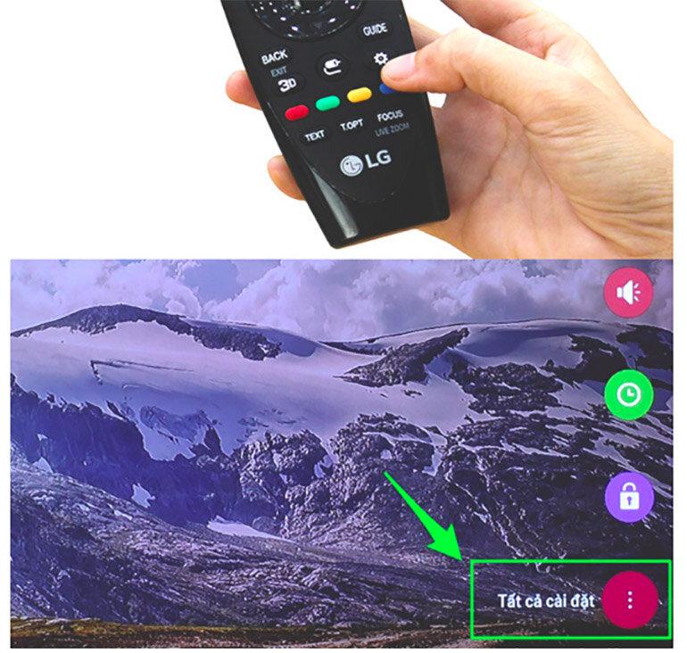 Chọn vào phần cài đặt hình bánh răng trên remote smart tivi LG để đến được trình cài đặt