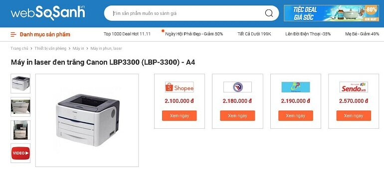 Websosanh.vn mách bạn cách mua máy in Canon 3300 cũ TỐT mà RẺ