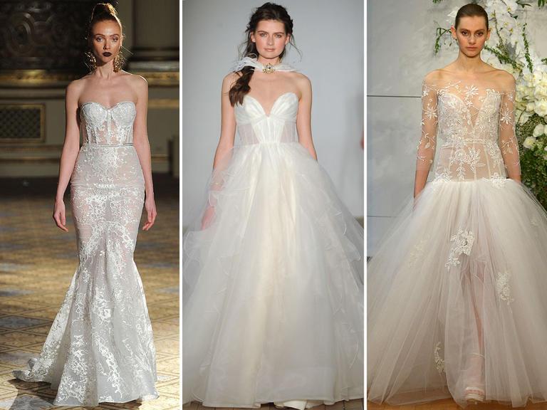Các cô dâu trở nên quyến rũ hơn với váy corset xuyên thấu