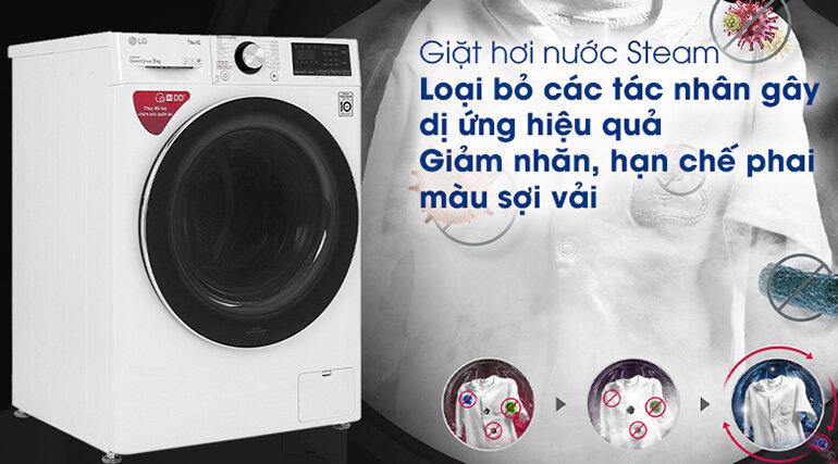 Giặt sạch hơn, loại bỏ các tác nhân gây dị ứng hiệu quả nhờ công nghệ giặt hơi nước Steam