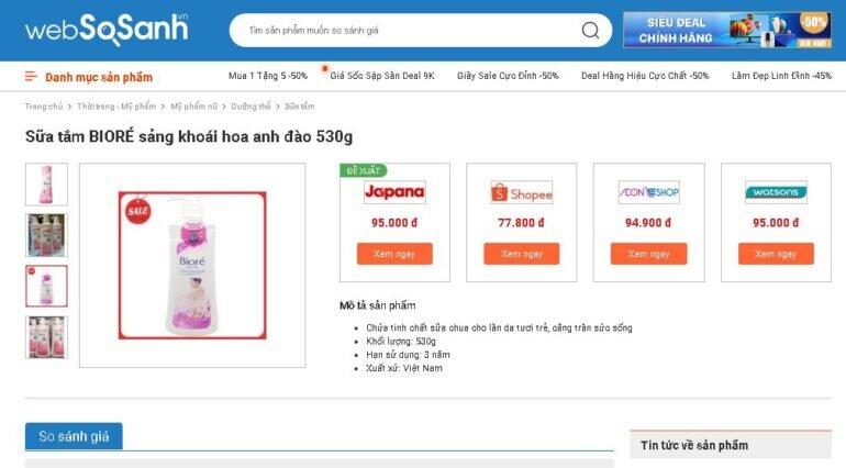 Giá sữa tắm Biore hoa anh đào