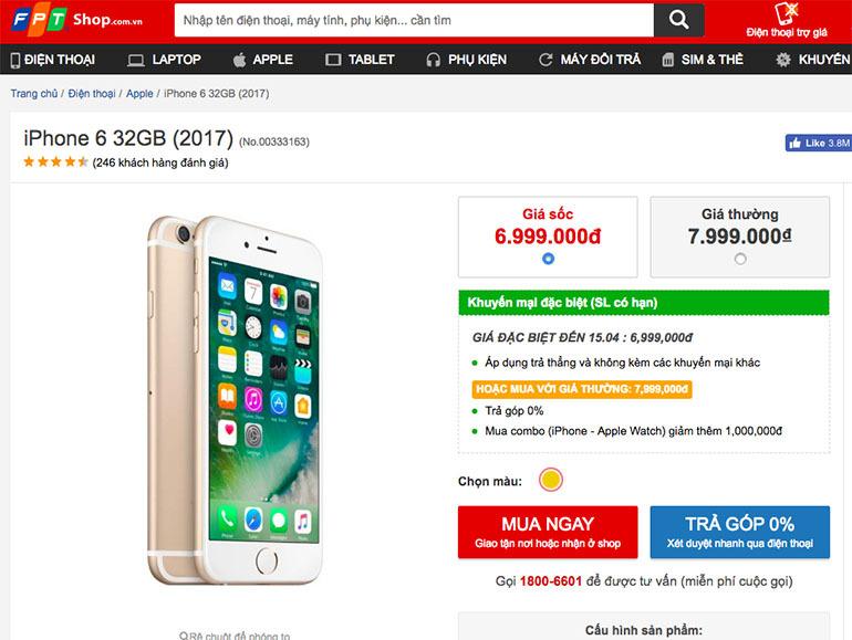iphone 6 32GB giảm giá 2 triệu đồng tại FPT người dùng ồ ạt kéo nhau đi mua sắm