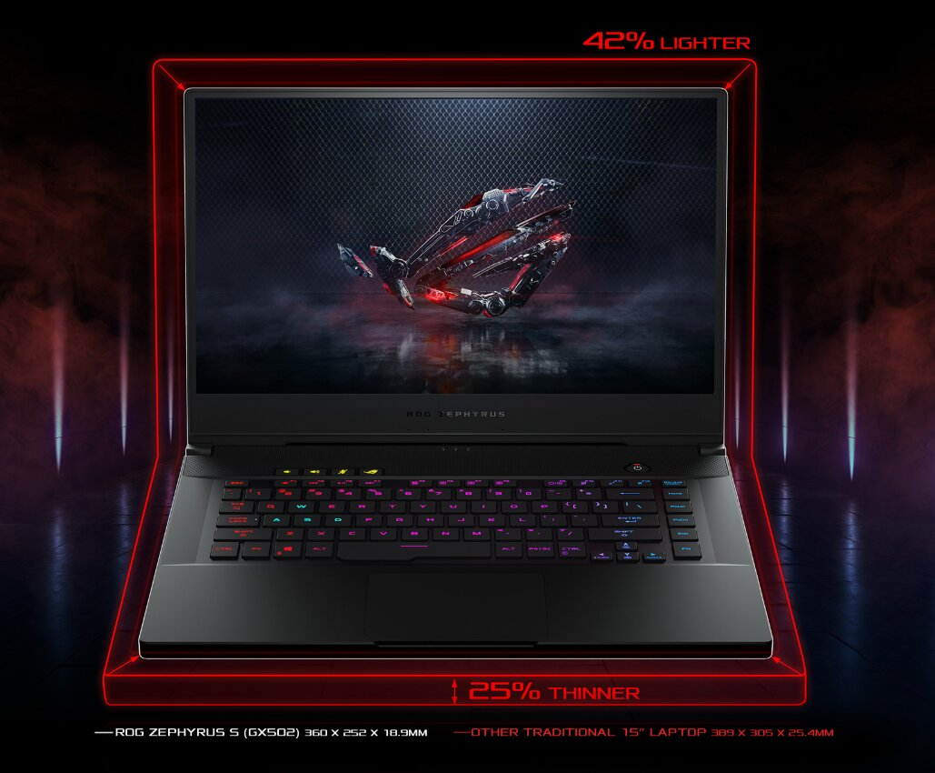 Laptop Asus ROG Zephyrus S hỗ trợ đèn nền bàn phím hiệu quả