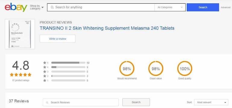 Viên uống transino whitening 240 viên nhận được sự tin dùng của đông đảo khách hàng