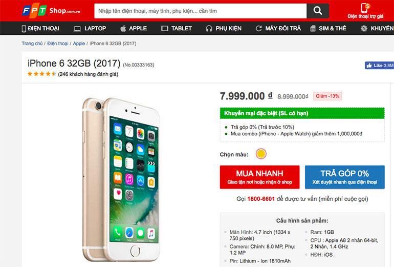 điện thoại iphone 6 giảm giá 1 triệu đồng
