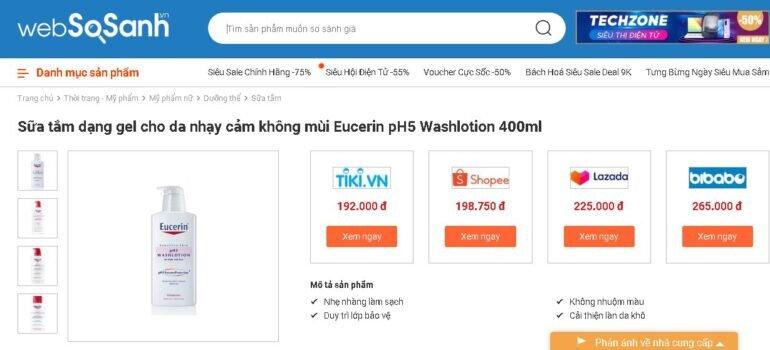Giá sữa tắm Eucerin bao nhiêu tiền