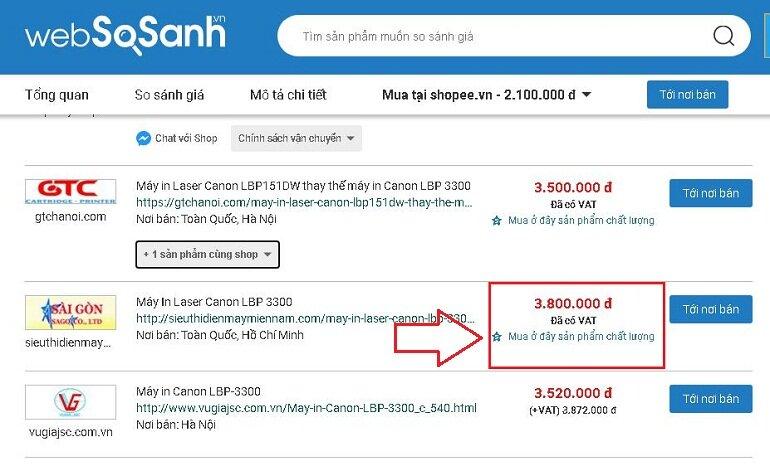Mua máy in Canon 3300 cũ trên các trang web có tagline được Websosanh.vn giới thiệu