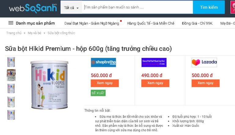 Sữa Hikid Premium 600g