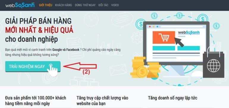"""click vào nút """"TRẢI NGHIỆM NGAY"""" để đăng kí trải nghiệm ngay để điền thông tin đăng kí"""