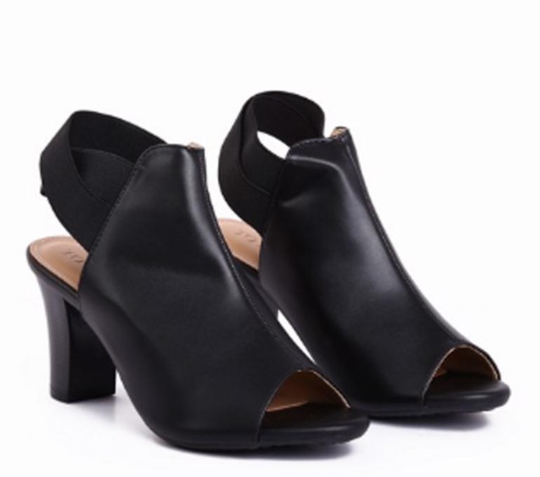 Giày da boots cao gót