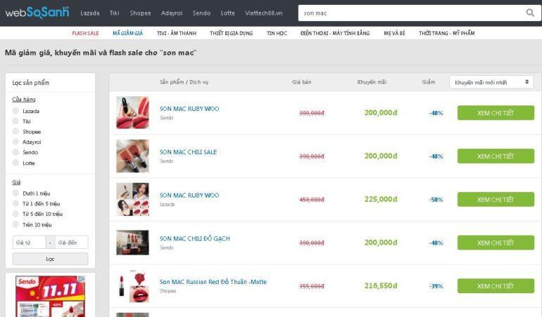 Nhân ngày lễ độc thân 11.11 các loại son Mac đang giảm giá thật tới 50%