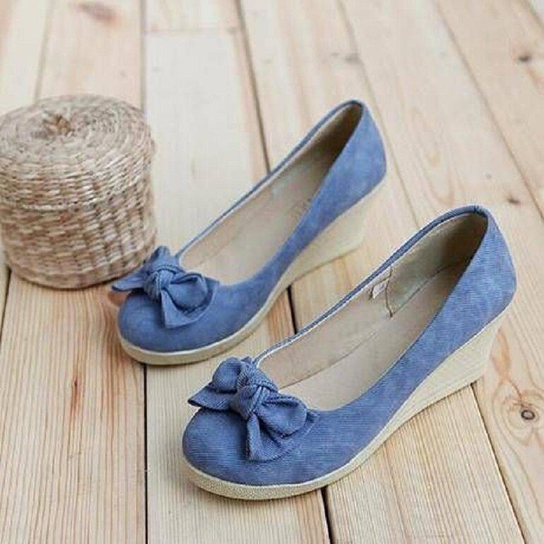 giày búp bê đế xuồng màu xanh