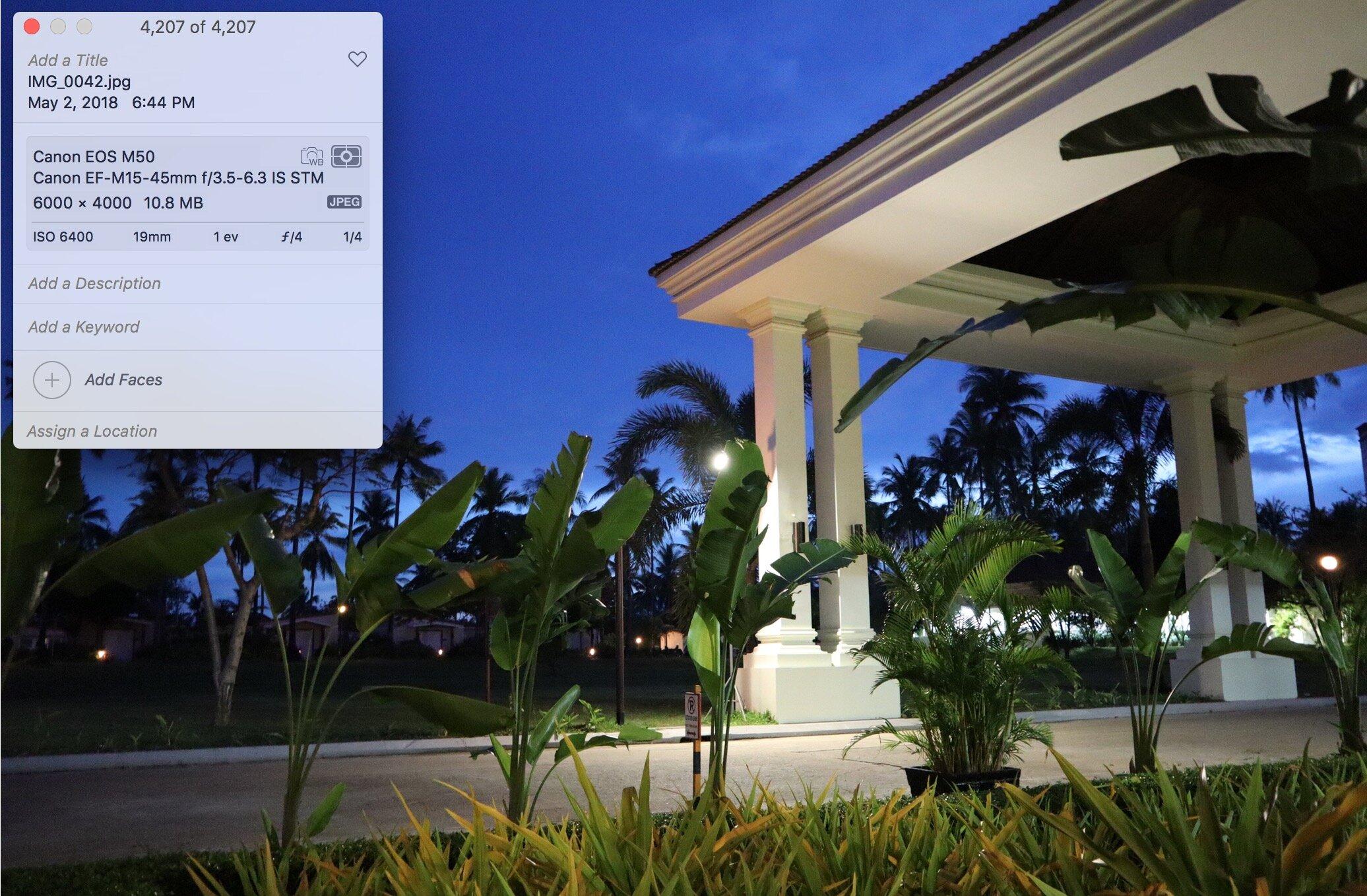 Ảnh chụp thực tế với mức ISO 6400 trong điều kiện trời tối, đèn mờ, mắt thường không thấy được của Canon