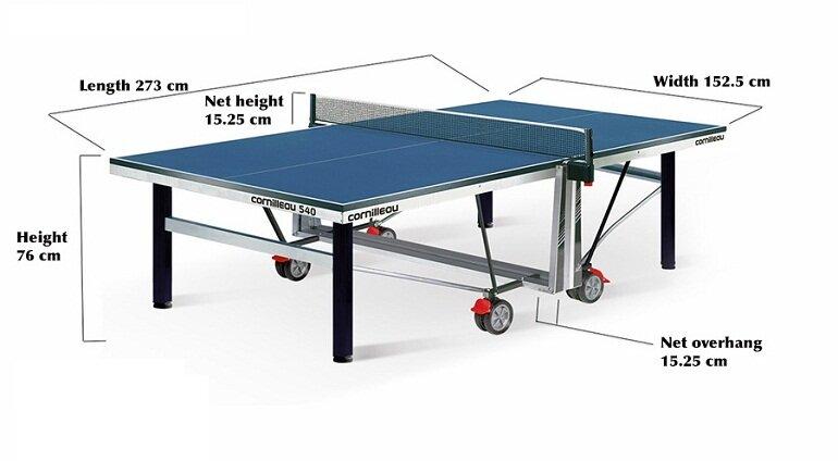 Kích thước chuẩn của bàn bóng bàn mini sẽ là rộng 71cm, dài 152cm và cao 76cm