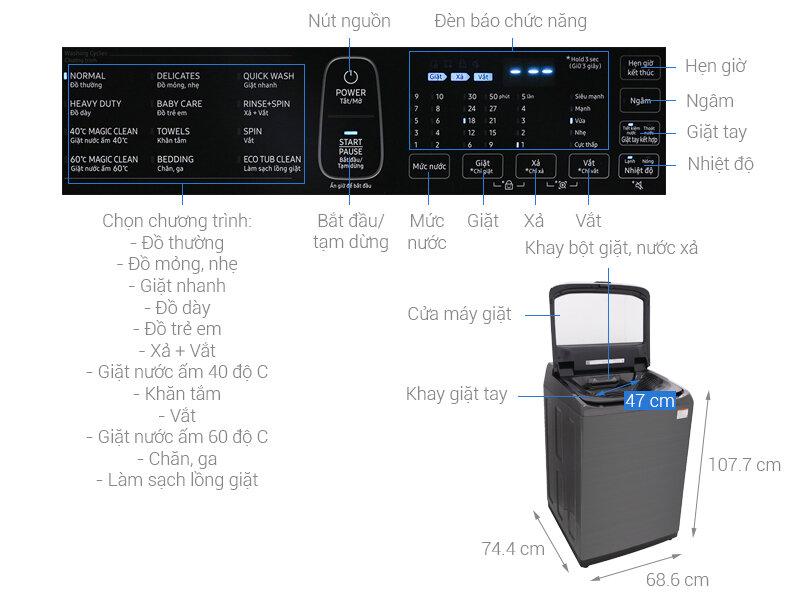 Máy giặt cửa trên Samsung 21kg (WA21M8700GV)