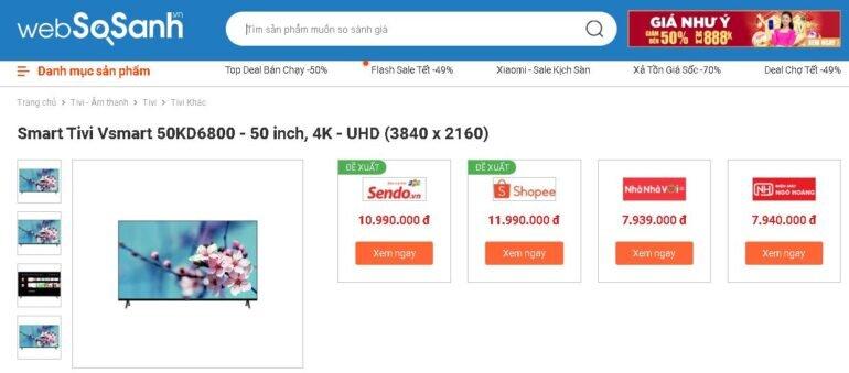 Giá tivi Vsmart 50 inch 4K 50KD6800 bao nhiêu tiền?